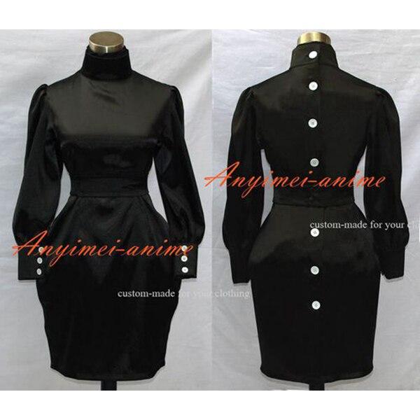 Sissy Maid Gothic Lolita Vestido de Cetim Preto Traje Cosplay Sob Medida [G500]