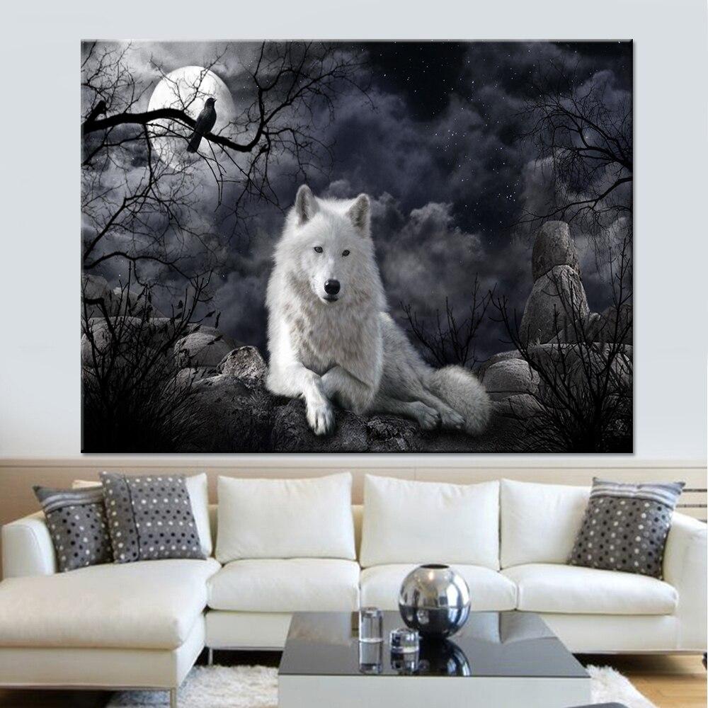 Cuadros de decoración Pared de salón Marco modular de arte impreso 1 Panel Animal Lobo póster lienzo cuadros con pintura al óleo