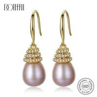 doteffil 925 sterling silver whitepinkpurple 10mm pearl aaa zircon gold earrings for women wedding engagement charm jewelry
