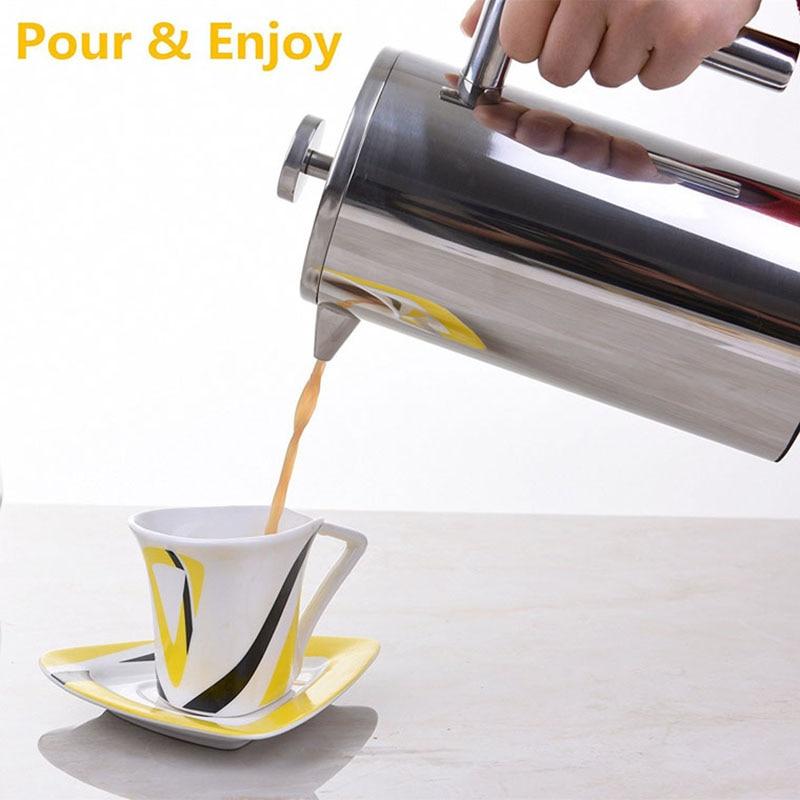Cafetera de prensa francesa de doble pared de acero inoxidable, tetera con filtro de café, cestas, cafetera, percolador aislado