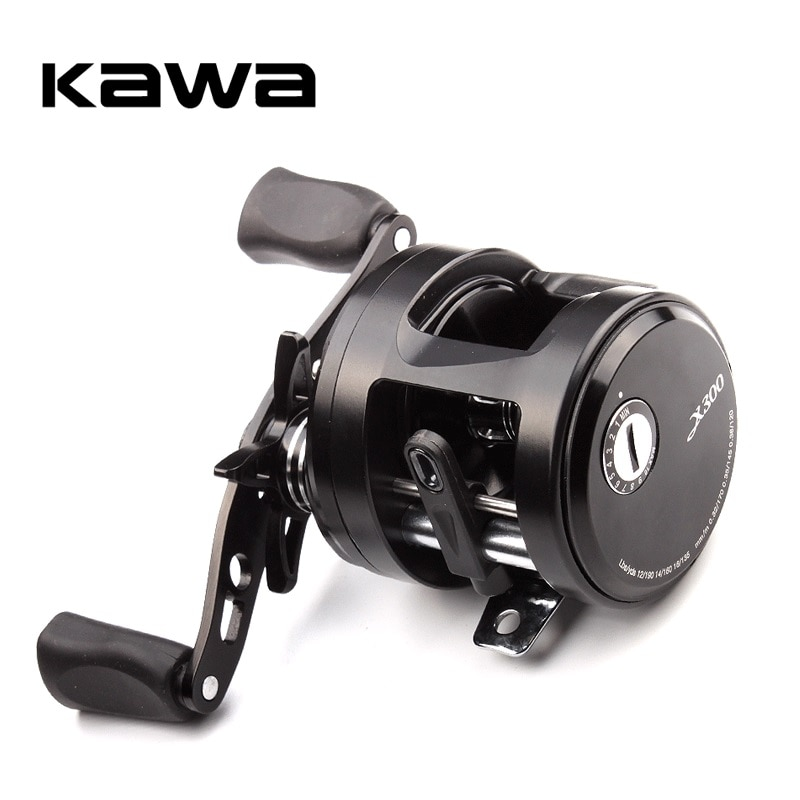 KAWA New Fishing Reel X300/301 Cast Drum Wheel Bait Casting Max Drag 7kg 9+1 Bearing Metal Cover Aluminum Alloy Spool