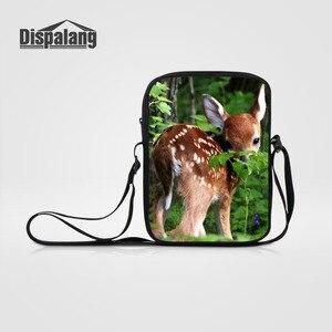 Dispalang Casual Women Men Small Messenger Bags Deer Elk Print Crossbody Bags For Children Shoulder Bag Student Kids Book Bag
