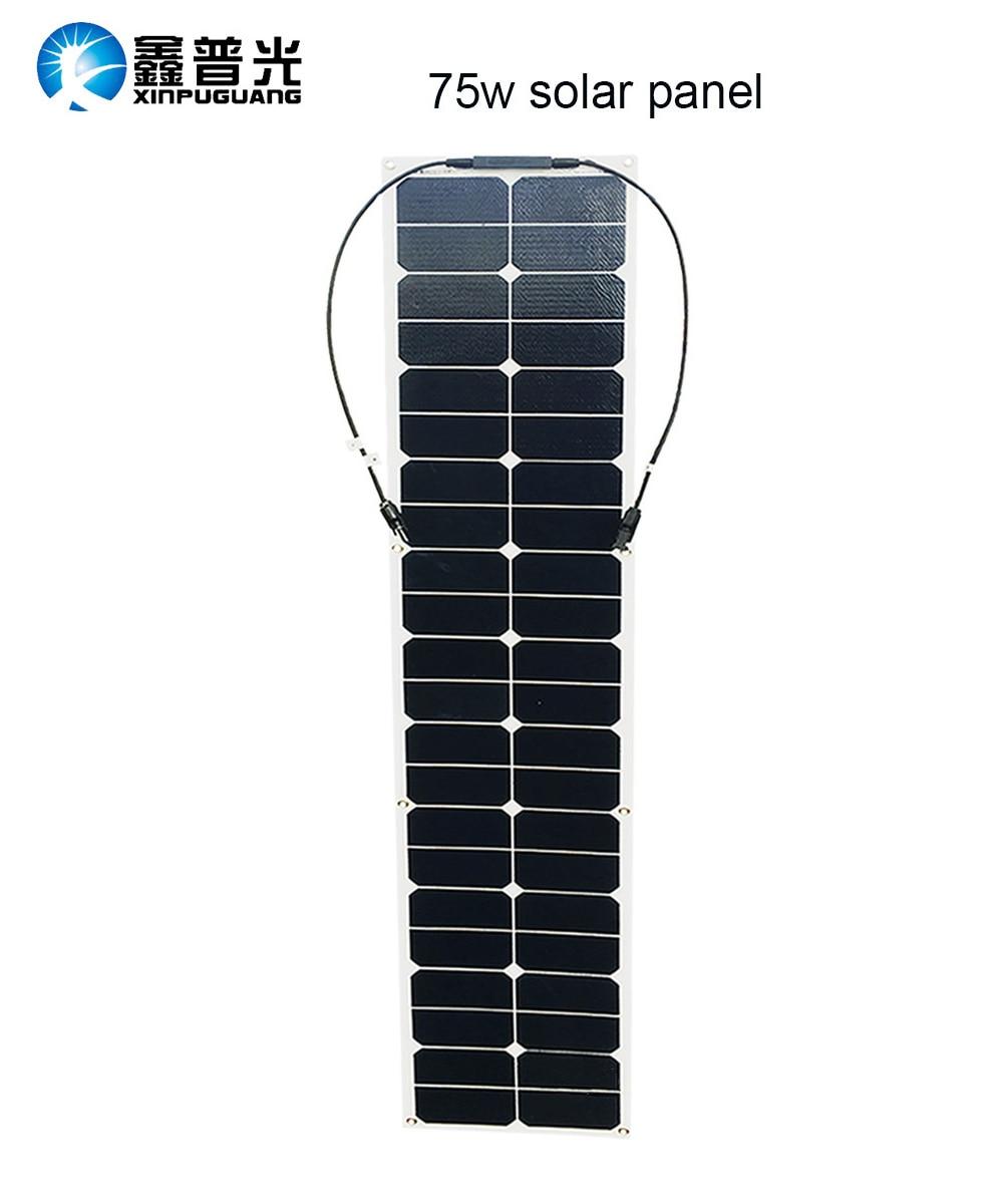 75w semi flexible solar panel ETFE solar modul effiziente pv anschluss für 12v batterie RV auto yacht power ladegerät