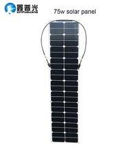 75w semi flexible panneau solaire ETFE module solaire efficace cellule pv connecteur pour 12v batterie RV voiture yacht chargeur de puissance