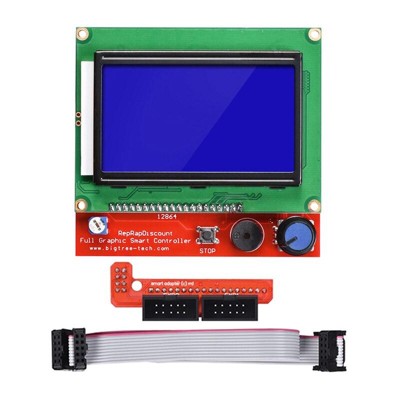 Panel de Control de pantalla inteligente LCD 12864 para impresora 3D controlador inteligente con Cable adaptador compatible con rampas 1,4 para reprap Mendel