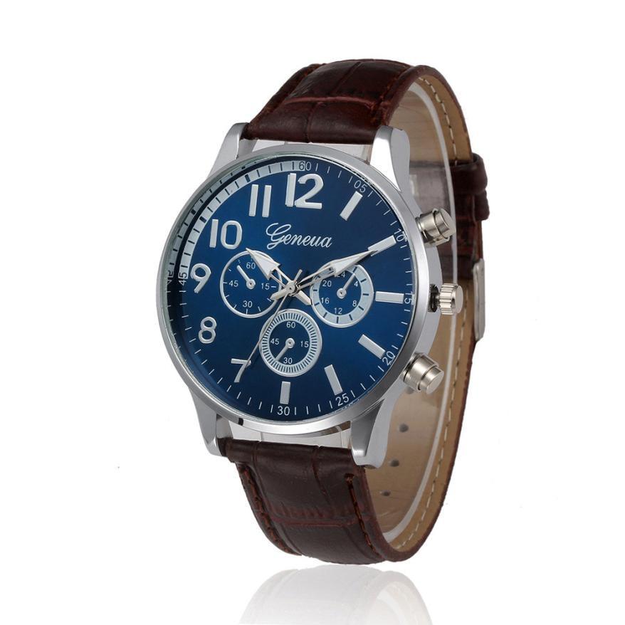 Timezone#301 Retro Business style Men's Watch Design Leather Band Analog Alloy Quartz Wrist Watch Dr