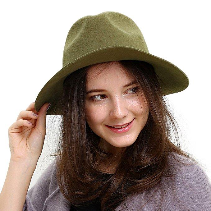 100% Austrália Mulheres Gangsters Chapéu Fedora Chapéu de Feltro de Lã Para Senhora Elegante Cashmere Jazz Chapéu Chapéu de Aba Larga Floppy K18