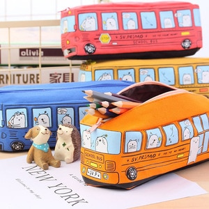 1pcs 4 Colors Random Creative Bus Pen Bag Student Waterproof Stationery Box Cute Animal Canvas Large Capacity Pencil Case