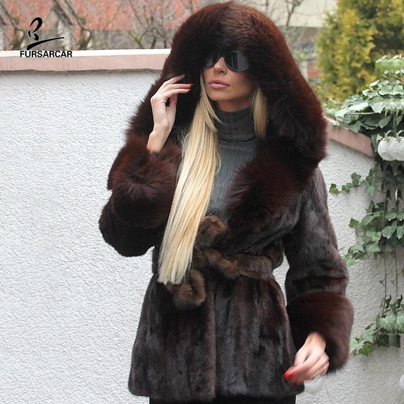 FURSARCAR ريال الطبيعة براون المنك سترة مع الثعلب الفراء هود الكفة للنساء الشتاء حجم كبير موضة فاخرة سميكة حقيقية الفراء معطف