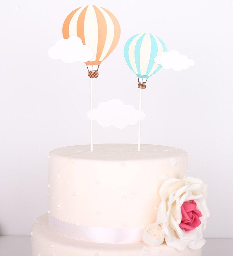 Nubes globo de aire caliente Cupcake Topper princesa carruaje de Castillo princesa nubes cumpleaños Baby Shower Primer cumpleaños