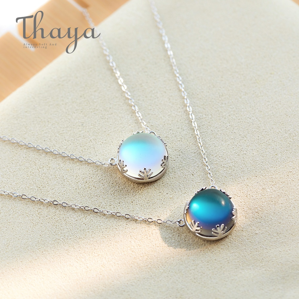 Thaya 55cm Aurora Pendant Necklace Halo Crystal Gemstone s925 Silver Scale Light Necklace for Women