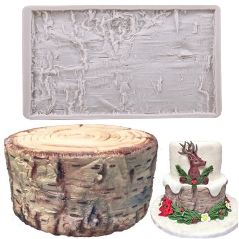1 ud. Molde de silicona para Tartas con forma de corteza de árbol molde de Fondant herramientas de decoración de tartas molde para horneado de galletas de Chocolate