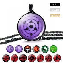 Sharingan oeil collier Naruto pendentif Uchiha Kakashi Mangekyou verre Cabochon Rinnegan yeux Anime bijoux cadeau Dropshipper