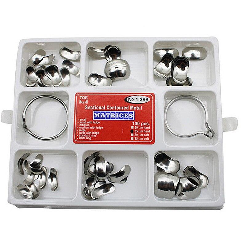 100 Uds Dental matriz No.1.398 transversal Metal Matrices + 2 anillos kit completo para los dientes de Dentsit herramientas
