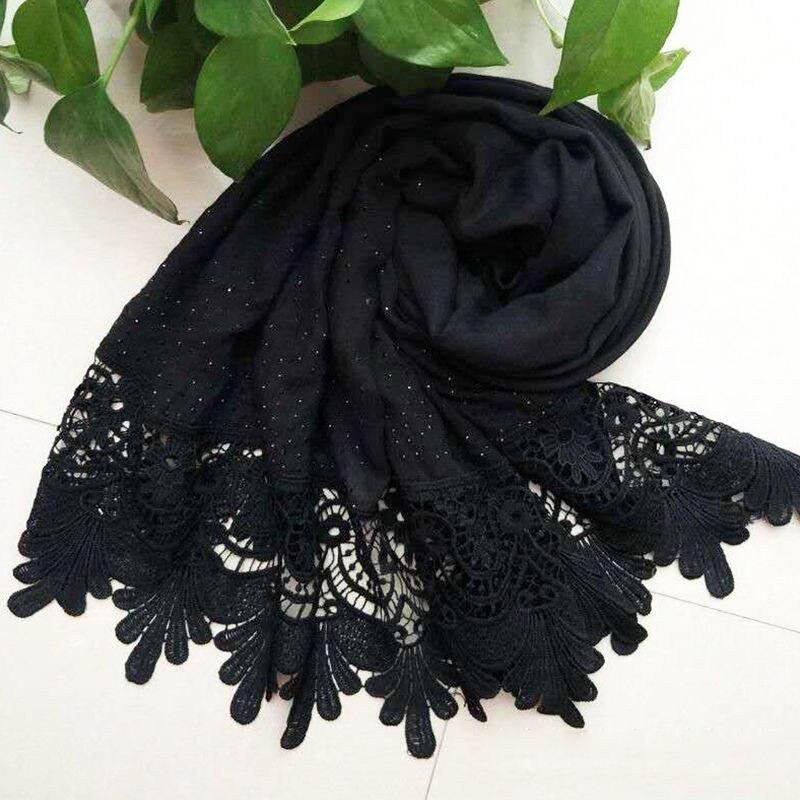 Mode Frauen Casual Solide Weiche Long Neck Große Schal Wrap Schal Pashmina Stola Scarve Baumwolle Spitze Eine Größe Für Mädchen