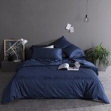 Blue white black egyptian cotton Longitudinal stripe  Bedding Set Duvet Cover Bed sheet Bed Linen Pillowcases 4pcs