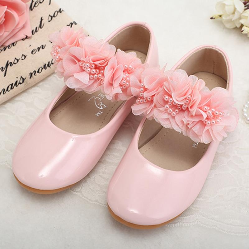 حذاء مسطح من الجلد الياباني للبنات ، حذاء مسطح عصري مزين بالورود للأطفال من سن 2 إلى 14 سنة ، 2020