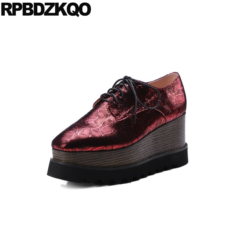 women platform wedge shoes square toe plus size wine red snakeskin 10 42 oxford handmade harajuku creepers 8cm high heels pumps