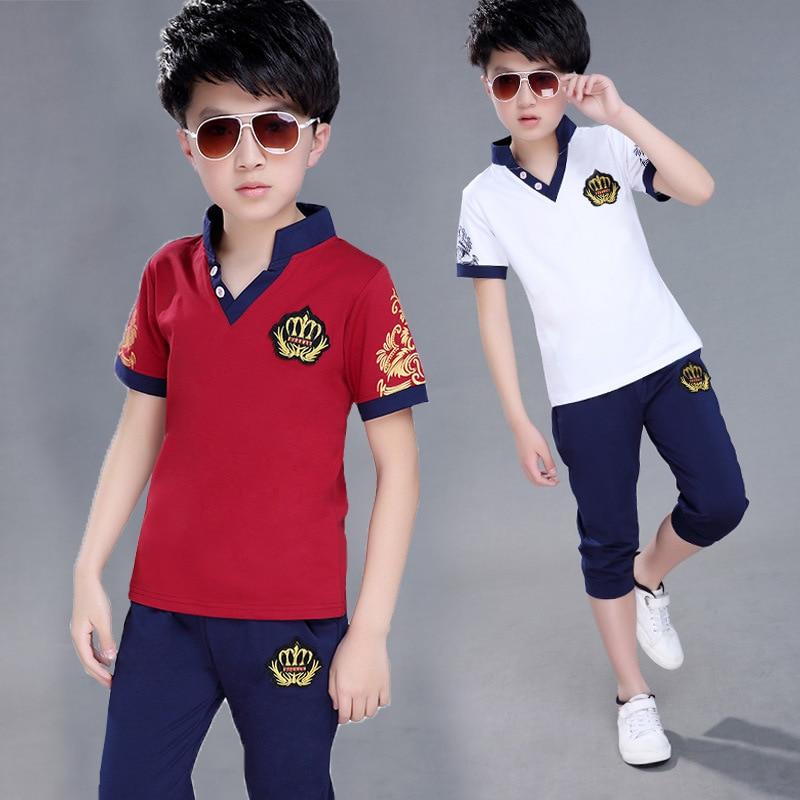 Одежда для мальчиков; Комплект одежды для маленьких мальчиков; Летняя детская одежда; Футболка + штаны; От 4 до 13 лет