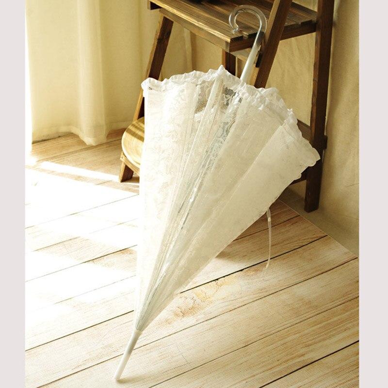Paraguas sombrilla de encaje blanco para boda hecha a mano para dama de honor, paraguas de decoración de mango largo, regalo de Navidad de moda Lolita