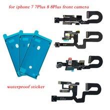 2 pièces/ensemble pour iPhone 7 7plus 8 8plus autocollant étanche + face avant capteur de caméra lumière de proximité et câble flexible de Microphone
