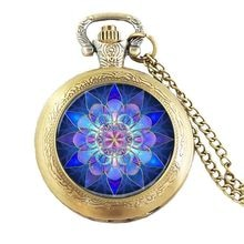Ожерелье в стиле стимпанк, успокаивающее синее украшение в виде мандалы, бесплатная доставка, подарок для женщин и мужчин, цепь из латуни и с...