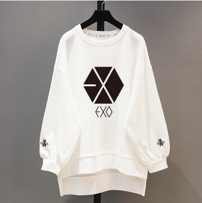 Kpop EXO Frühling neue 2020 Korea rundhals lose lange abschnitt hoodies frauen kleine biene stickerei lose sweatshirts kawaii kleidung