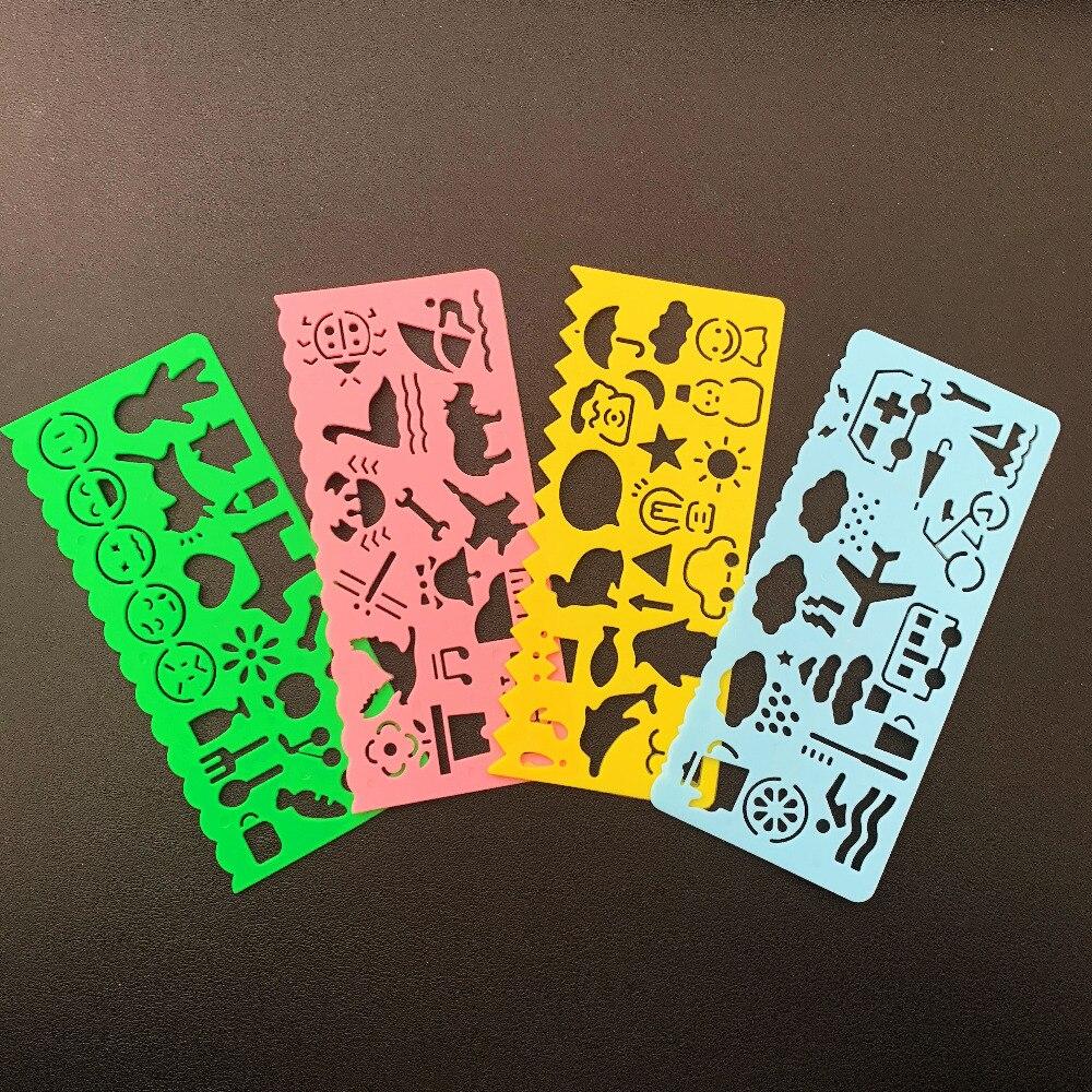 Set de 4 Uds. Regla de plantilla de dibujo con imagen para estudiantes papelería escuela Oficina suministros niños estudio juguete para regalo