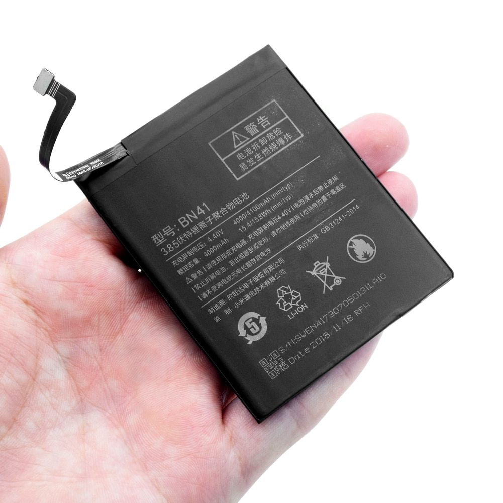 1pc bateria de substituição do telefone móvel para xiaomi redmi nota 4 hongmi note4 redrice nota 4 alta performance bn41 genuíno 4100mah