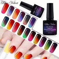 blue velvet 3 color temperature change nail gel polish 10ml uv gel lacquer varnish chameleon gelpolish for holloween gift