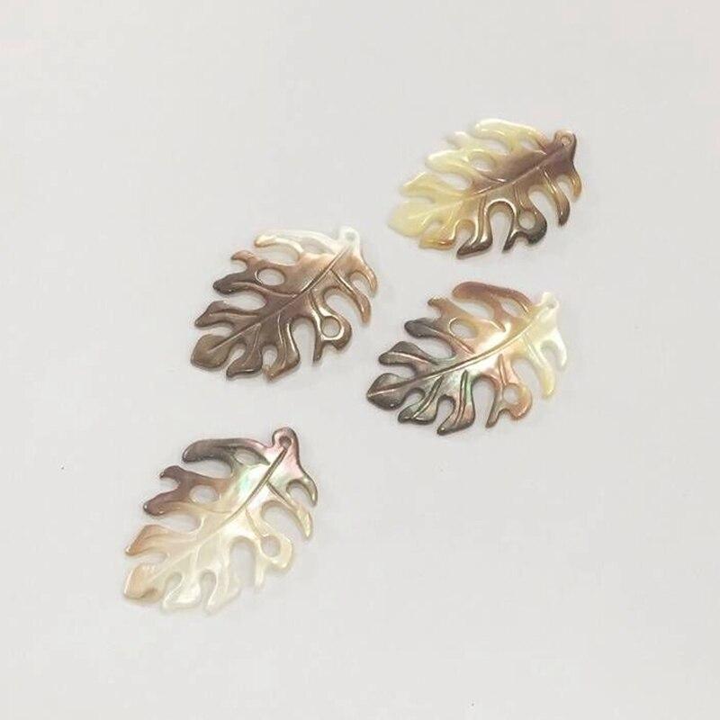 23*34MM 4Pcs/Lot 100% Natural Black Pearl Shell Leaf Shape Charms Jewelry Pendants