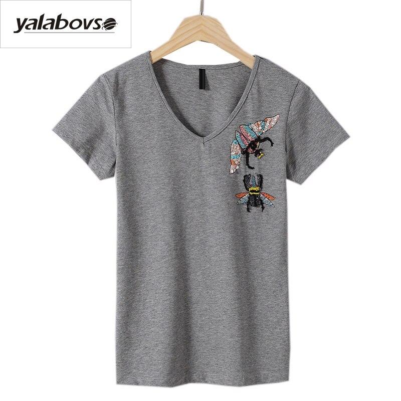Yalabovso 2018, camisetas de verano para mujer, Camisetas hechas a mano de algodón con cuello redondo, camiseta femenina de manga corta con insectos, Camisetas hechas a mano 1726 z15