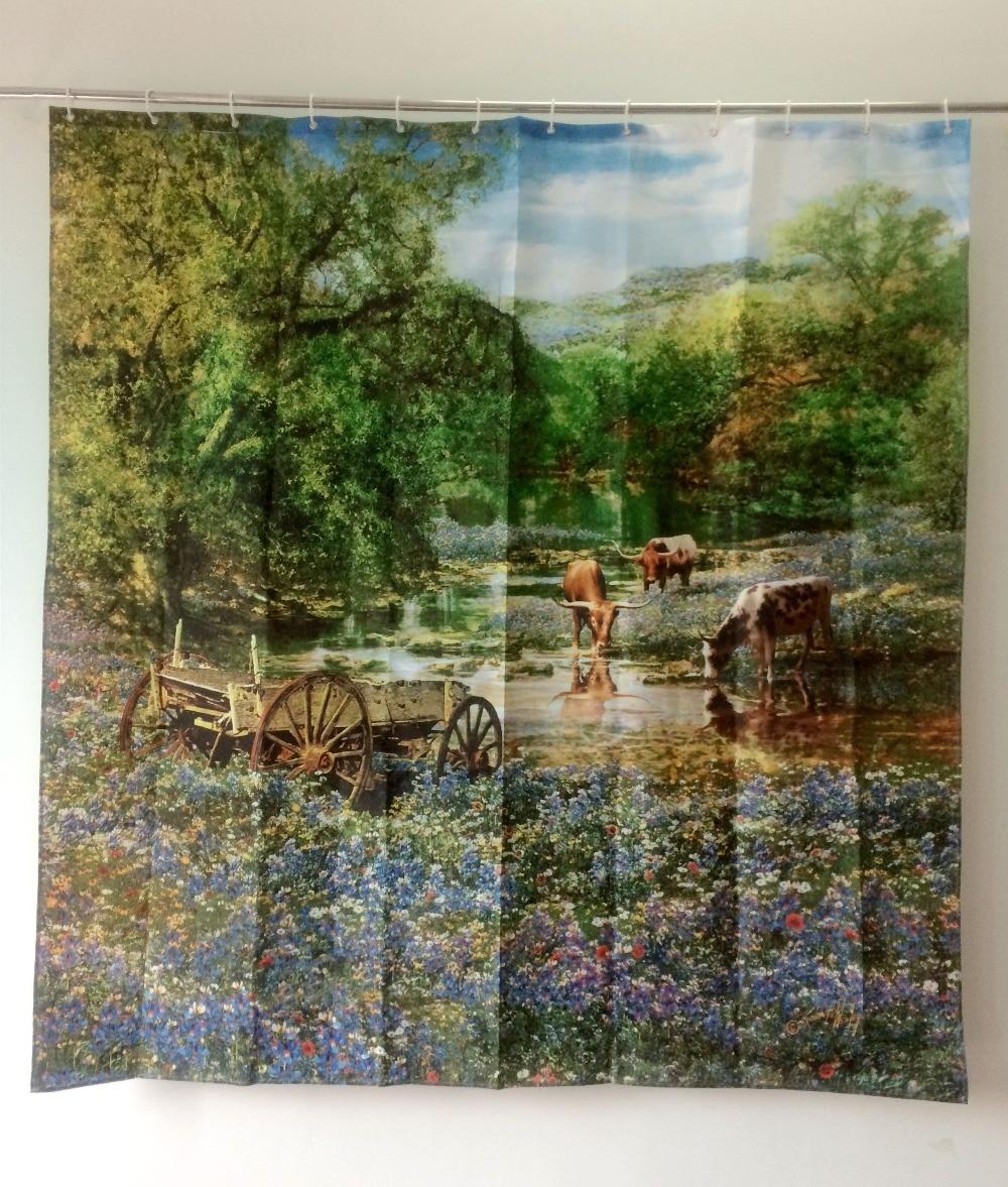 2015 занавески для душа стиль Пасторальные пейзажи Товары для ванной комнаты с принтом коровы водонепроницаемая ткань cortinas para banheiro ducha