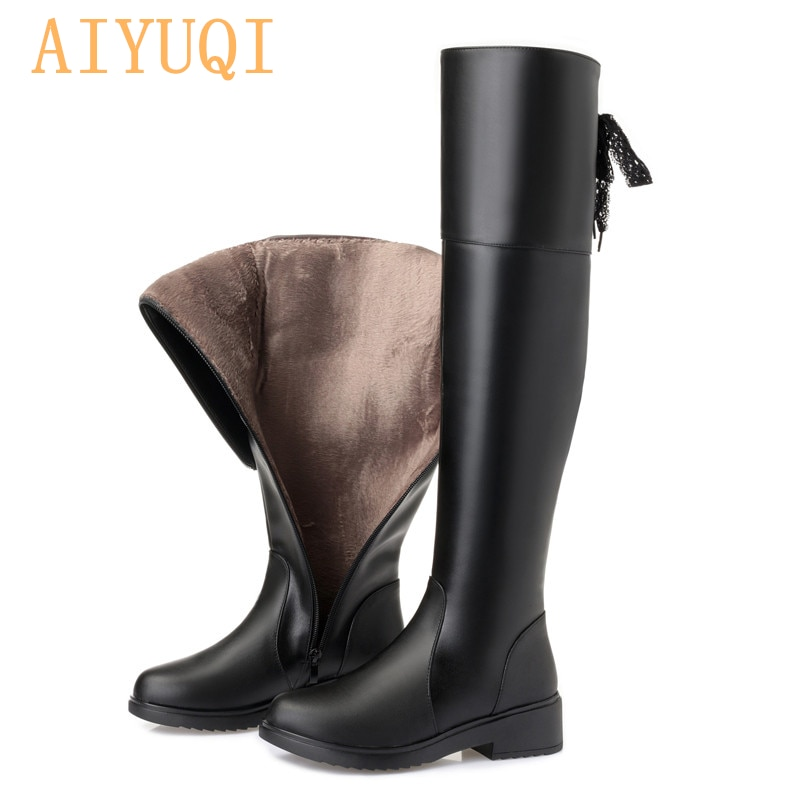AIYUQI Women boots 2021 new genuine leather women thigh high boots fashion over the knee boot motorc