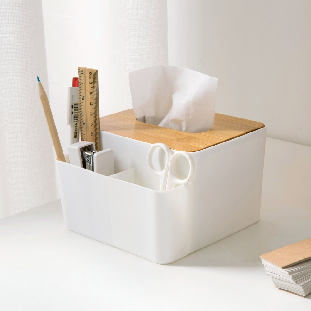 Cubierta de bambú caja de pañuelos multiusos organizador de Escritorio de oficina caja de almacenamiento de pañuelos servilletas titular de Control remoto