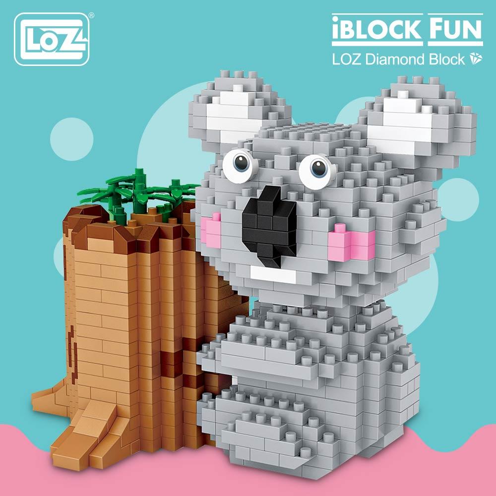 LOZ bloques de diamante Koala pluma titular lindo Animal Micro construcción de bloques de ladrillos creativo juguete de descompresión regalo de los niños DIY 9212