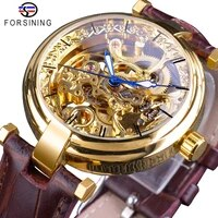 forsining 2018 golden watches fashion blue hands mens automatic self wind watches top brand brown genuine leather luminous hands