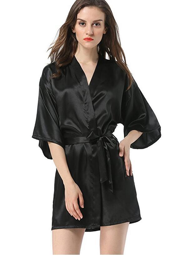 روب حمام حريري صيني أسود للنساء ، روب حمام ، كيمونو يوكاتا ، لون سادة ، ملابس نوم S M L XL XXL NB032 ، مجموعة جديدة