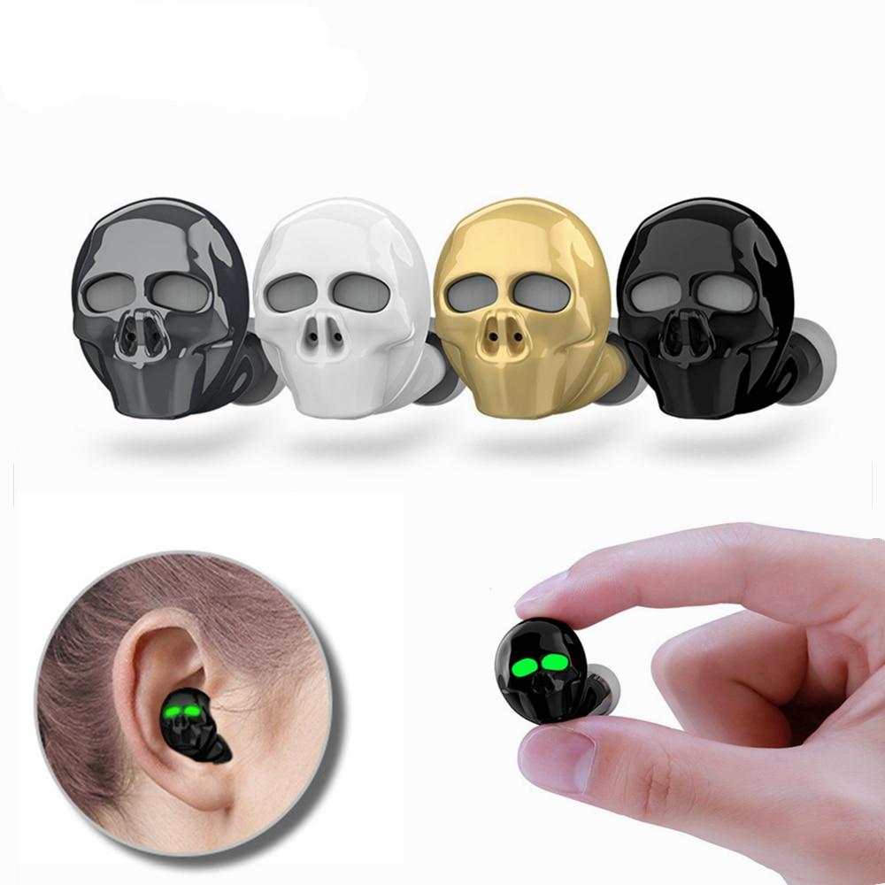 Nuevo auricular Bluetooth calavera hueso con micrófono Cancelación de ruido Hi-Fi manos libres bajo estéreo Mini Micro auricular