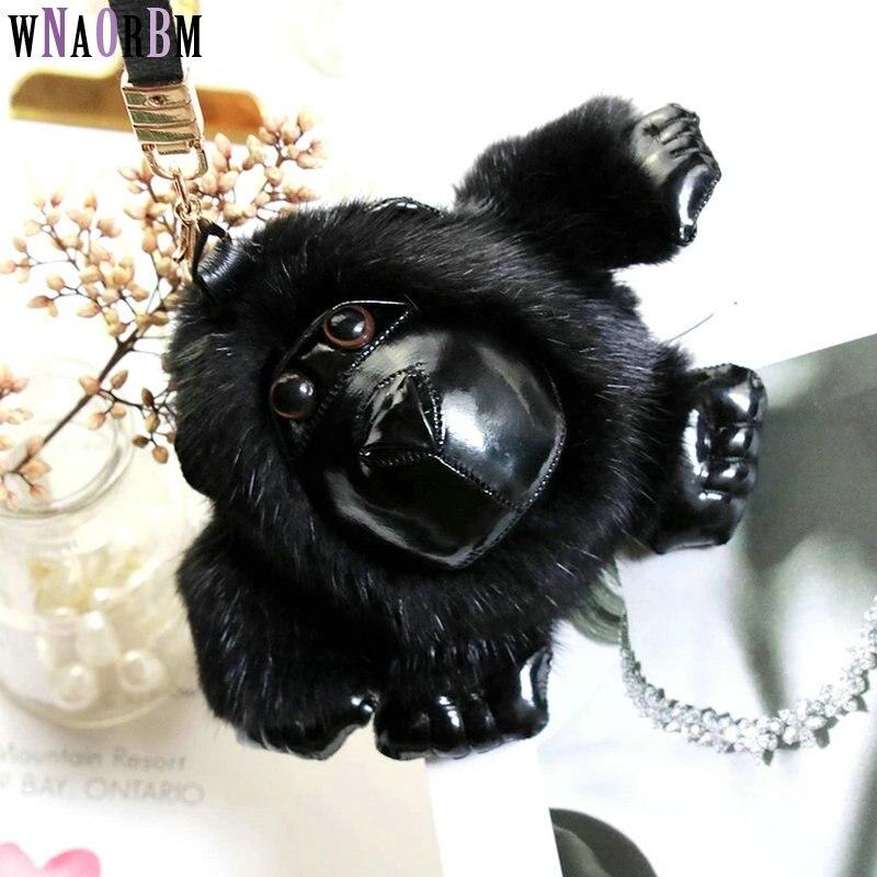 2020 nuevo visón importado de piel de gorila llavero hombres y mujeres bolsas llavero colgante de auto de llavero colgante accesorios de la joyería
