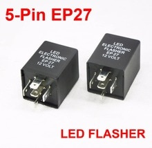 2 pièces 5 broches EP27 LED clignotant décodeur 5 broches relais électronique voiture Fix LED SMD clignotant lumière erreur clignotant clignotant 12V 10A ABS