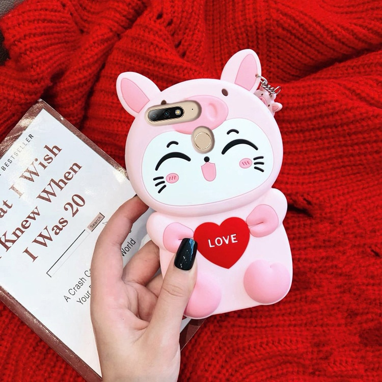 Para Huawei Y9 2018 3D silicona amor gato dibujos animados célula blanda funda de teléfono para Huawei Enjoy 8 Plus