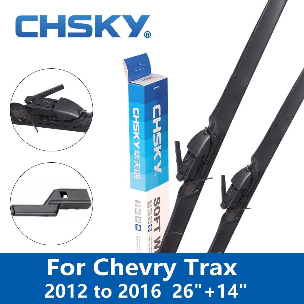 """Escobilla limpiaparabrisas de coche CHSKY para Chevry Trax 2012 2013 2014 2015 2016 brazos de botón de ajuste 26 """"y 14"""" escobilla de limpiaparabrisas de coche"""