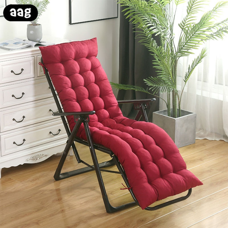 Sólido macio jardim espreguiçadeira de sol cadeira reclinável coxim engrossar dobrável cadeira de balanço almofada de assento de cadeira longa almofadas