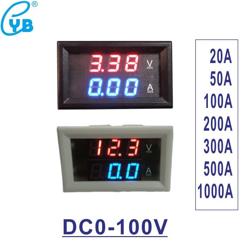 DC0-100V voltímetro amperímetro DC20A 50A 100A 200A 300A 500A 1000A LED Digital corriente de voltaje Mini pantalla LED cubierta blanca negra