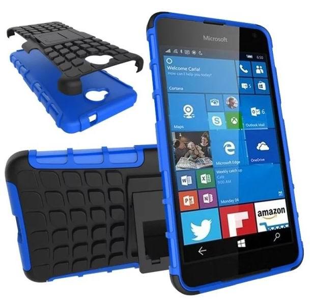 Para Nokia Lumia 650 funda soporte vista soporte TPU doble cubierta gota choque funda protectora para Microsoft Lumia 650 Dual SIM funda