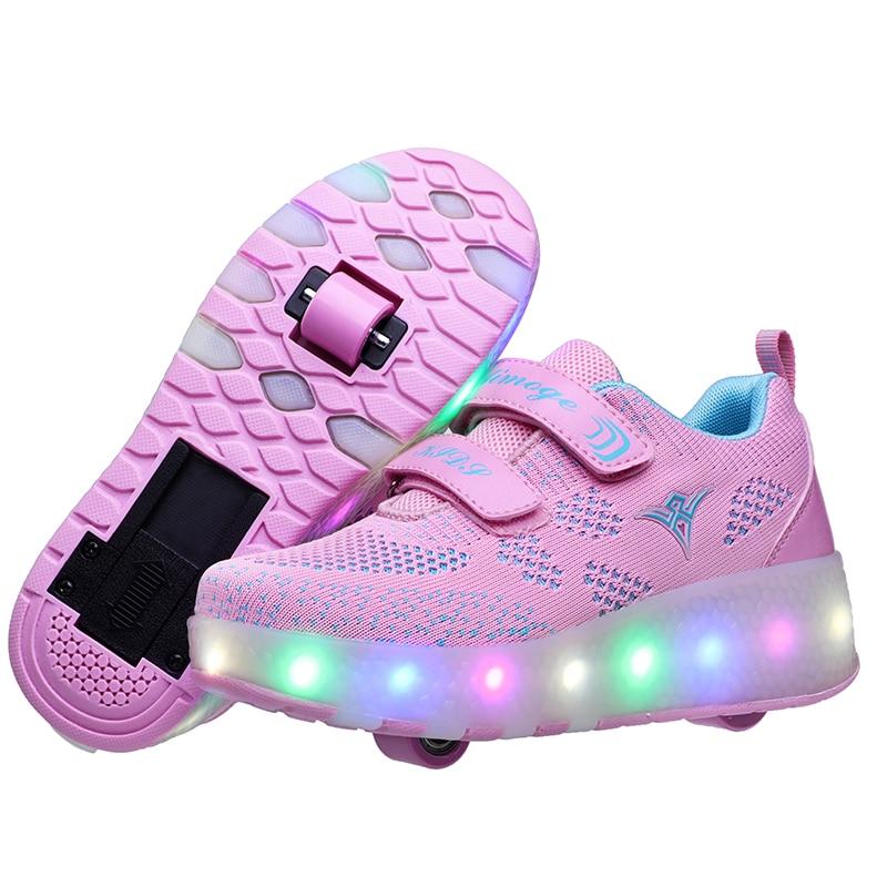 Новинка, розовый, синий, красный, USB зарядка, модный светодиодный светильник для девочек и мальчиков, обувь для катания на роликах, детские кр...