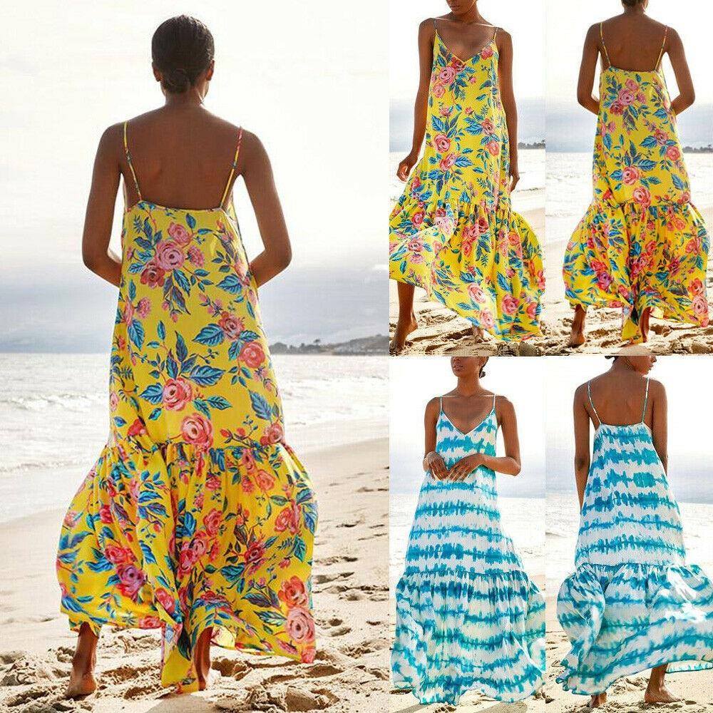 2019 New Style Fashion Summer Women Boho Floral Long Maxi Dress Sleeveless Party Loose Beach Sundress