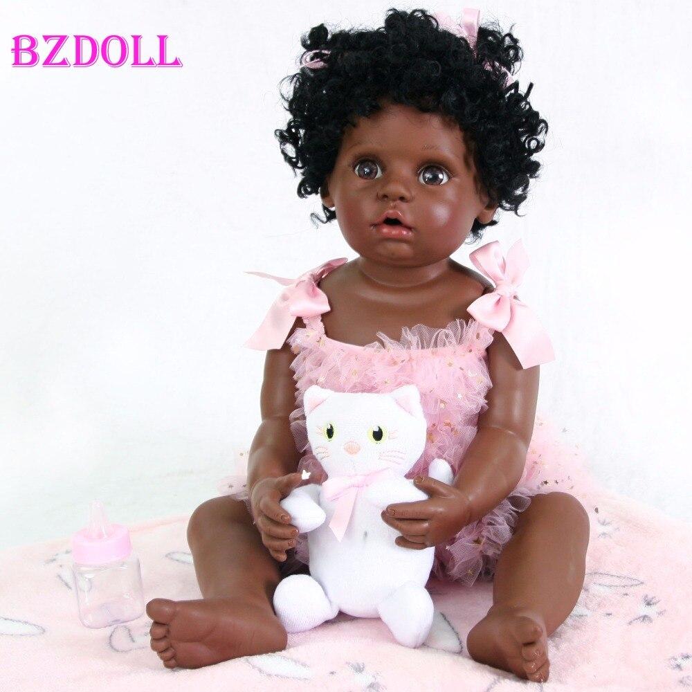 55 см полностью силиконовая черная кожа Новорожденный ребенок кукла игрушка для девочки Boneca винил новорожденный младенец милый подарок на день рождения живой Bebe игрушка
