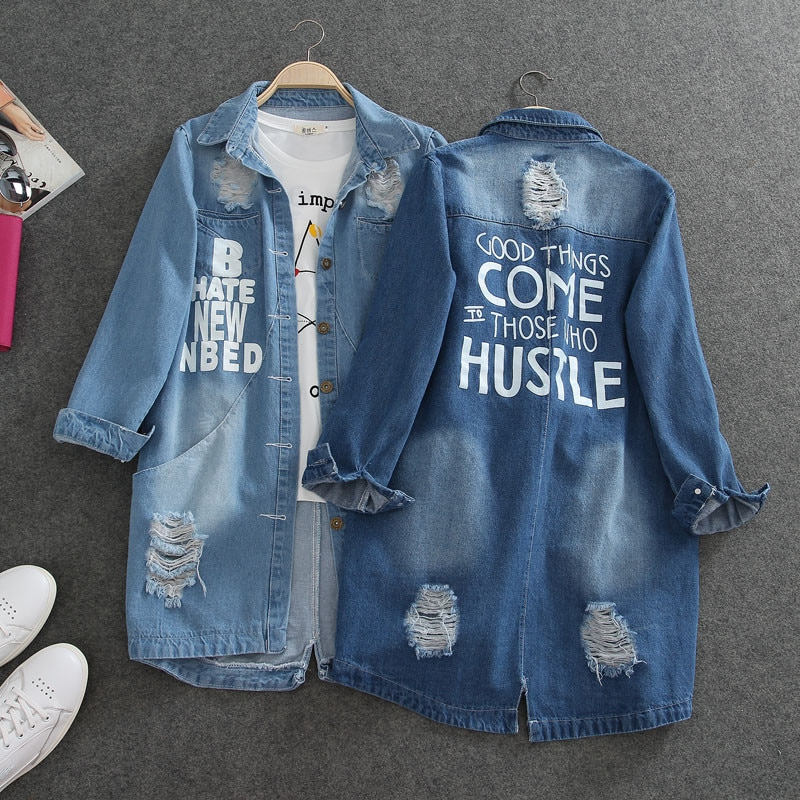 Denim Jackets Women Spring Hole Long Sleeve Casual Denim Jacket Femme Elegant Jeans Coat Outerwear Plus Size 7XL 8XL 9XL R620